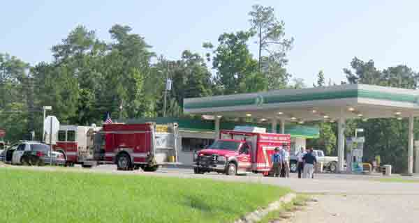 Brewton fire and police officials continue to assess a potentially dangerous situation at the BP station on U.S. 31 South.
