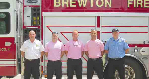 Brewton firemen are ready to wear pink again this year to bring awareness to cancer. Shirts are available to the public through Thou Art.