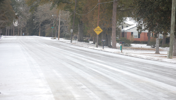 Belleville Avenue appears to be a sheet of ice Wednesday morning.