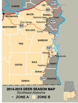 2014-15 Propsoed Deer Season Map (South-East Section)