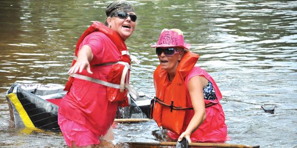 Two Broke Girls Brenda Hart and Terri Tidwell drag their craft across the finish line.