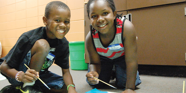 Stephanie Nelson | Brewton Standard Dedric Cosby and D.J. Fountain were having a great time at art Monday as they participated in the 'Summer Fun Mondays' at the Johnny Fischer Community Center. To read how you can get your child in for some free fun, read below.