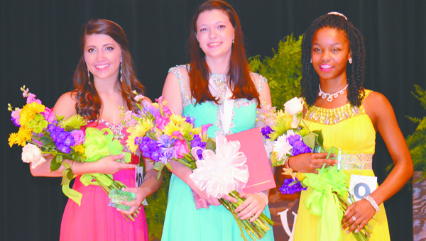 Winners of the evening were Ryan Garmeson, center, the new 2015 Distinguished Young Woman, and T.R. Miller student; first alternate Megan Fournier, Escambia Academy; and second alternate, Christin Simpkins, Escambia County High School.