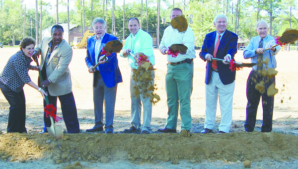 Stephanie Nelson | Brewton Standard Brewton City officials – Chamber President Josh Godwin, Police Chief Monte McGougin, Mayor Yank Lovelace, Councilman Fred Barton and the Rev. Ed Glaize – joined Country Place Senior Living's regional manager for the Brewton area Cecile Godfrey and CEO Jack West at a groundbreaking ceremony Friday.