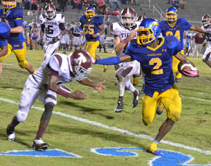 Malcolm Hawthorne gets away from a Thomasville defender Friday night.