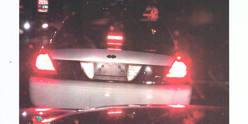 This is the back of a Ford Crown Victoria believed to be used in illegal traffic stops.