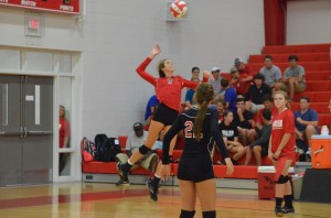 Allie Nelson serves the ball. She led the team in kills for the night.