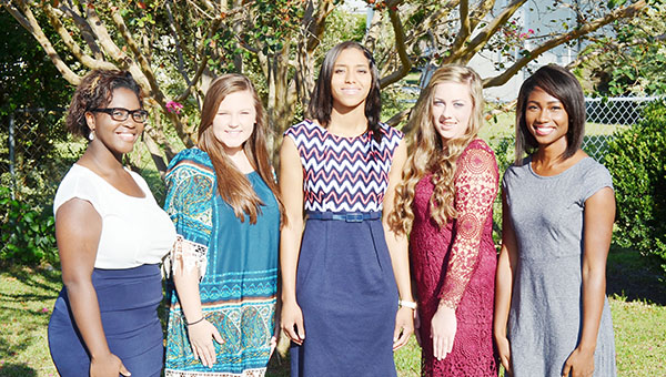 Pictured is the 2015 W.S. Neal High School Homecoming Court: Freshman maid Miranda Edwards; Sophomore maid Rachel Dyess; Junior maid Faith Ellington; Senior maid Asiana Nettles and Homecoming Queen Keke Floyd. Homecoming parade starts at 1 p.m. The pregame ceremony begins at 6:25 p.m followed by football kickoff.