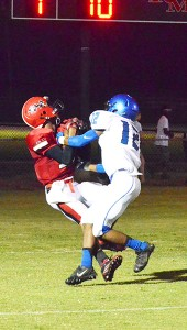 Senior Chardian Johnson makes a touchdown catch against Escambia County Friday night