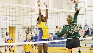 Dinah Samuel protects the net in Tuesday's game against Flomaton.