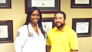 Med student Jakai Nolan is currently working with Brewton's Dr. Aaron Morgan at Brewton Medical Center.