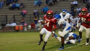 Narkavis Campbell runs in for a Miller touchdown.