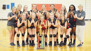 The 2015 TRM volleyball team won its 11th straight county tournament trophy on Saturday.