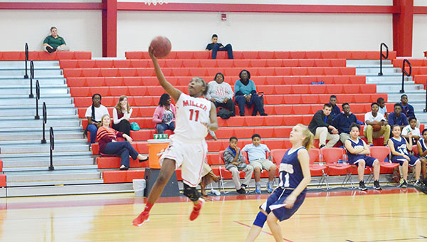 BMS's Aleria Smith goes up for a layup.