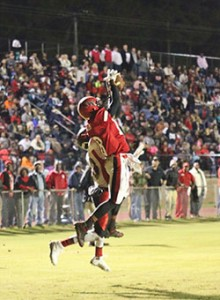 Allison Terrell | The Brewton Standard TRM wide receiver Chardian Johnson makes a catch in the end zone for the touchdown.