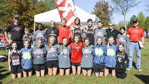 The TRM cross country teams and coaches after the races Saturday.