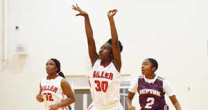 BMS's No. 30 Alijah Fountain watches a shot throw the basket in the girls 54-7 win over Repton.