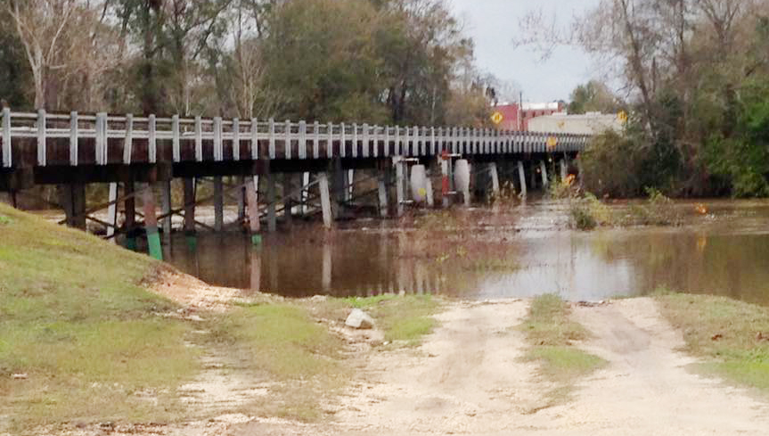 The view from the East Brewton side of the Murder Creek Bridge just before 9 a.m. Thursday.