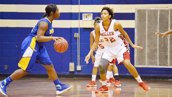 Corey Williams | The Brewton Standard Miller's Kyla Bell playing defense earlier this season. Against Straughn, Bell recorded a double-double with 10 points and 12 rebounds in the team's 42-37 overtime victory.
