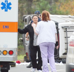 DWM nurses Lillian Heller and Amanda Morton talk after the crash victim was loaded into the ambulance.