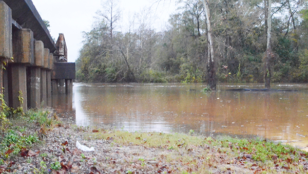 Corey Williams | The Brewton Standard Murder Creek was creeping over the banks Tuesday afternoon.