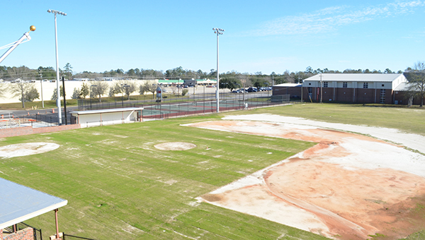 Corey Williams | The Brewton Standard The infield with grass. New clay will be built for the mound and infield in coming weeks.