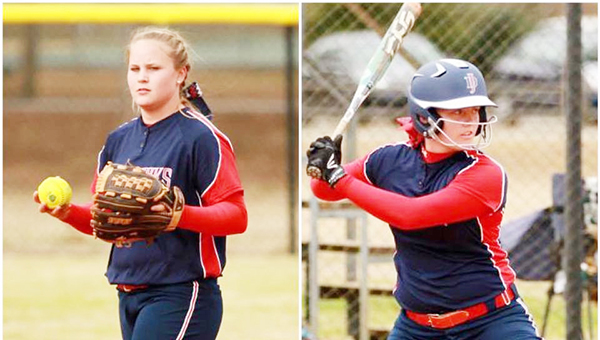 Courtesy Photo JDCC shortstop Jordan Swindle in the field and Hannah Brake at the plate.