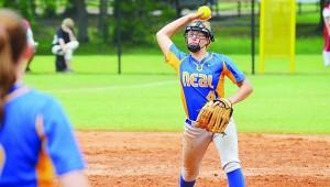 File photo Adria Barnett throws off the mound last season.