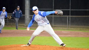 Neal's Jared Cooper throws of the mound. Cooper threw five no hit innings with eight strikeouts in the win.
