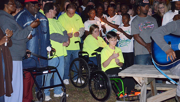 Corey Williams | The Brewton Standard The community joined together for a vigil in Jennings Park on Saturday to honor the late Devon Spencer and missing Brooke Bridges.