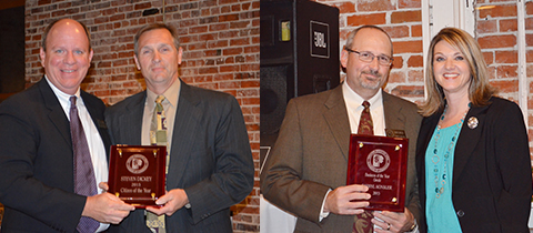 Left, Thad Moore Jr. presents the Greater Brewton Chamber of Commerce Citizen of the Year award to Steven Dickey. Right, Heather Walton, Brewton Grede's human resource manger, presents the Greater Brewton Chamber of Commerce Citizen of the Year business award to Brewton Grede GM Darryl Konsler.