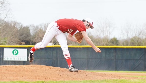 Corey Williams | The Brewton Standard Jo Jo Booker pitches in game one.