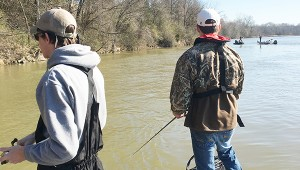 Courtesy photo Will Smith (left) and Tylan McDonald (right) fish in the Lay Lake tournament on Feb.20.