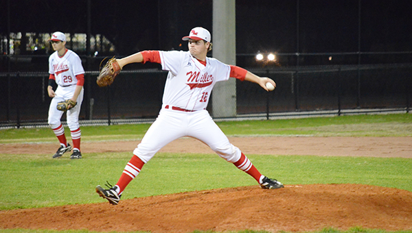Corey Williams | The Brewton Standard Floyd pitches earlier in the season. Floyd had 17 strikeouts over seven innings in Monday's win over Neal.