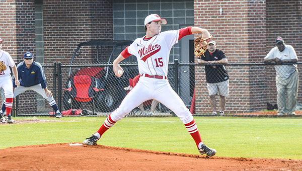 Miller's Jo Jo Booker pitches in game one. Booker had 10 strikeouts in the win.