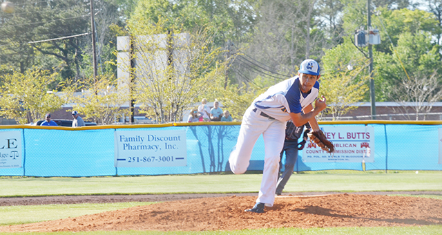 Corey Williams | The Brewton Standard Neal's Lane Chavers throws off the mound against Satsuma. Chavers pitched five innings, striking out four batters for the win on the mound.