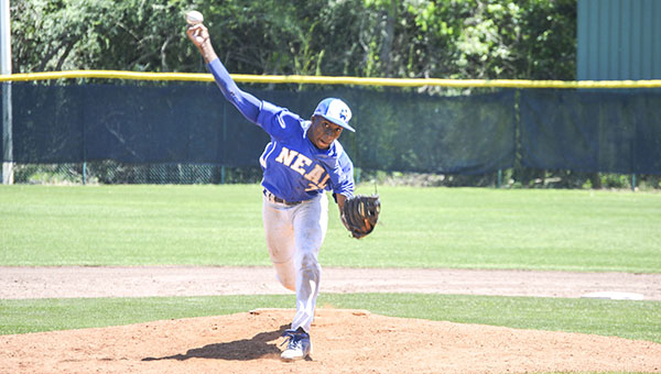 Josh Dutton | Andalusia Star-News No. 3 Jacobey Hawthorne pitches against Andalusia Saturday.
