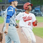 Miller's Jordan Williams advances to third base. Williams was 2-for-4 with two RBIs for the night.