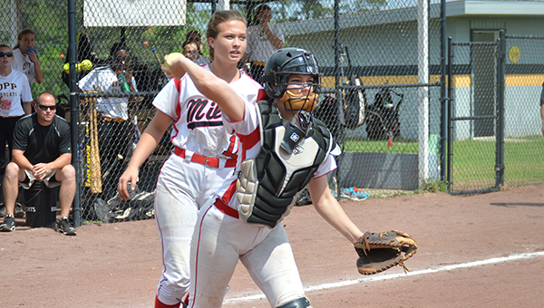 Josh Dutton  The Andalusia Star Miller catcher Mary Madison Brown fires to first base.
