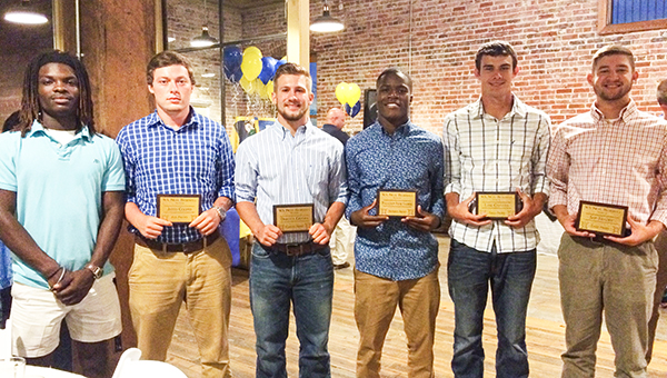 Award winners from left-to-right: Derrick Barton, Highest Batting Average; Jared Cooper, Ace Award; Dakota Graves, Coaches' Award; Malcolm Hawthorne, Defensive Award; Lane Chavers and Sam Frazier, the Eagle Award for most improved