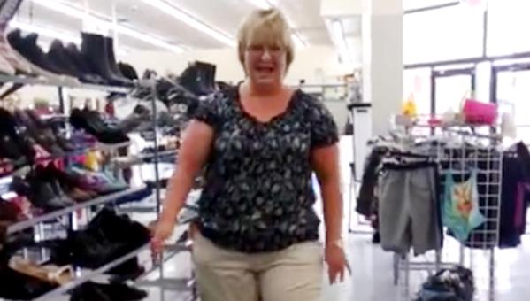 Hanks makes her now-famous strut down the shoe aisle.
