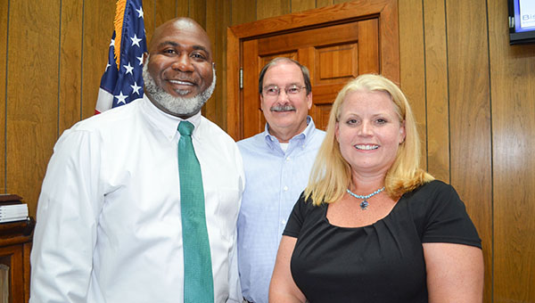 Corey Williams | The Brewton Standard Eric Andrews and Dr. Laura Leigh Rambach, pictured with Superintendent John Knott, were named as WSN Elementary and Middle School principals by the Escambia County School Board.  on June 16. Here the two are pictured with Escambia County School Superintendent John Knott.