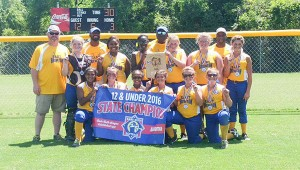 Courtesy photo East Brewton softball 12U champions Jailyn Bondurant, Gracie Sims, Kendall Carpenter, Nakasia Smith, Madison Nelson, Teresa Harris, Madison White, Natalie Wyatt, Harley Wilson, Ashli Wyatt, Madison Hawthorne and Jayda Johnson; with coaches Doug Sims, Damien Jackson, Alex Hawthorne and Jason Wyatt.