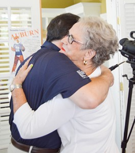 Stephanie Nelson   The Brewton Standard Yvonne Harrell, a member of TRM's class of 1957, shares a hug with Stephen Smith.