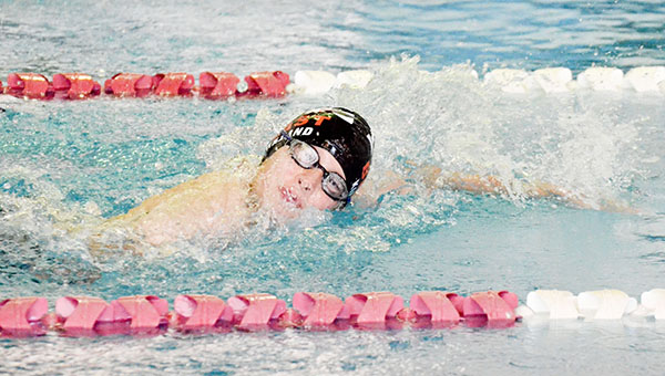 Corey Williams | The Brewton Standard A junior swimmer competes Saturday at the swim meet.