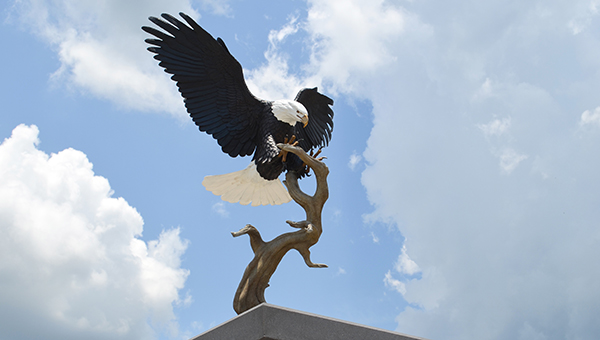 Corey Williams | The Brewton Standard The W.S. Neal Eagle statue sits outside in the courtyard.