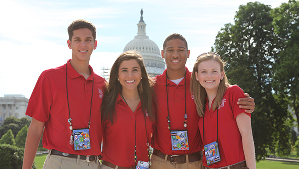 The 2016 Washington D.C. representatives for Southern Pine Electric Co-op are (L to R):  Tyler Baxter, T. R. Miller High School; Abigail Smith, Escambia Academy; Harley Fuqua, W.S. Neal High School, and Maggie Rowell, TRM.