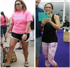 Courtesy photo Amanda Barnes before and after photos. Barnes has lost 45 pounds since November.