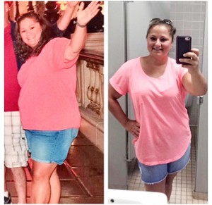 Courtesy photo Amberly Bullard before and after photos. Bullard has lost 50 pounds since joining taking the class in November.