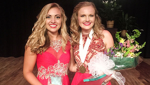 Corey Williams | The Brewton Standard Maggie Rowell (right) of T.R. Miller was named 2017 Escambia County Distinguished Young Woman. Bailey Lancaster (left) of Escambia Academy was named first alternate.